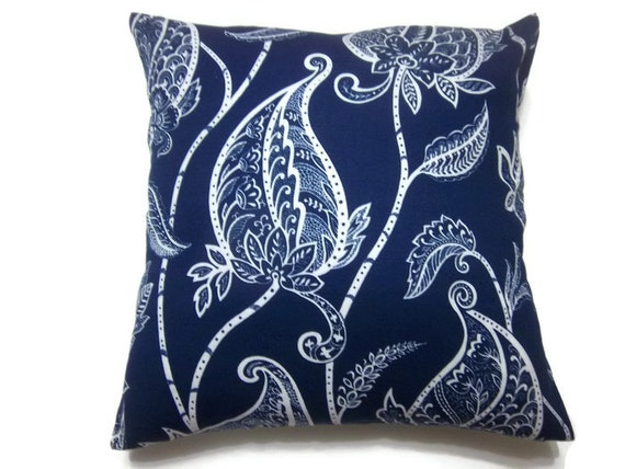 Navy Blue Decorative Bed Pillows: Decorative Pillow Cover Navy Blue White Leaf Design Throw Toss