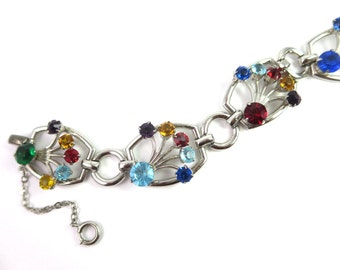 Vintage 50s Modern Linked Bracelet with Multi Colored Rhinestones and Safety Chain