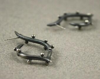 sterling silver oxidized earrings - curvy polka dot stud earrings - organic design lost wax cast