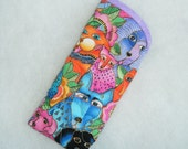 Quilted Eyeglass/Sunglass case - Laurel Burch DOG canine