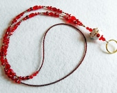 Lucky Cat - beaded badge lanyard - red and gold glass beaded ID badge lanyard necklace for teacher nurse gift
