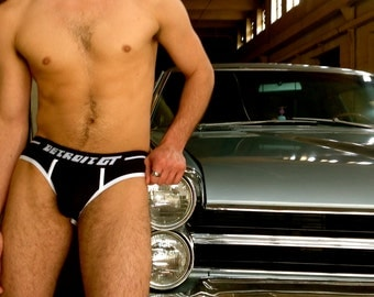 Detroit GT assless brief - Black w white piping