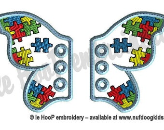 AUTISM Awareness Butterfly Shoe Wings Machine Embroidery In-Hoop Design 4x4 5x7 Applique Fantasy Steampunk Costume Puzzle Pieces