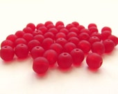 Smooth Matte Siam Ruby Red Round Czech Glass Druk Beads, 6mm - 50 pieces