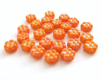 Opaque Orange Czech Glass Daisy Flower Beads with Luster Finish, 8mm - 25 pieces
