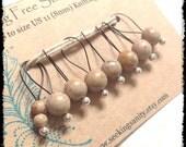 Snag Free Stitch Markers Medium Set of 8 -- Desert Jasper -- M68 -- For up to size US 11 (8mm) Knitting Needles