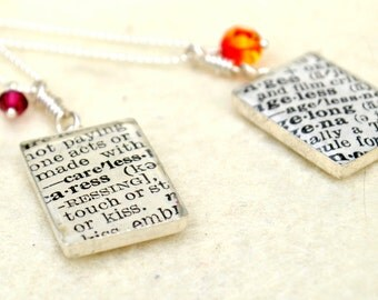 CUSTOM Dictionary Necklace - Your choice of word - Recycled Book Jewelry - Large Rectangle with Crystal on Sterling Silver
