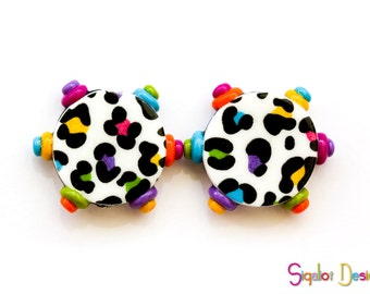 Cheetah print beads - Polymer clay disc beads - Cheetah print beads - colorful graphic beads with raised dots 20mm (2)