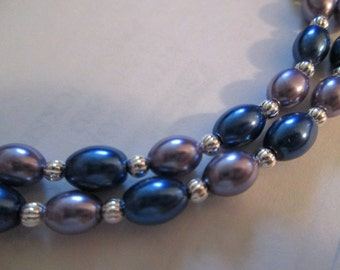 Blue and Purple Glass Pearl Beaded Necklace