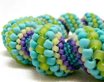 Cool Color Fiesta Cellini Spiral Beadwoven Bangle Bracelet