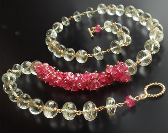 14k Green Amethyst and Pink Sapphire Necklace