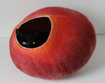 Cat Nap Cocoon / Cave / Bed / House / Vessel - Hand Felted Wool - Crisp Contemporary Design - READY TO SHIP Warm Red Fire Bubble