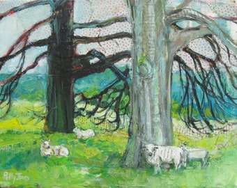 Yorkshire Sculpture Park original acrylic mixed media landscape painting by Polly Jones