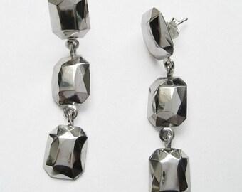 Geometric earrings, modern earrings, silver dangle earrings, silver faceted metal gem, silver stone, fake diamond earrings, ooak