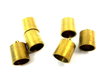 Large Vintage Raw Brass End Cap Findings (6X) (F607)