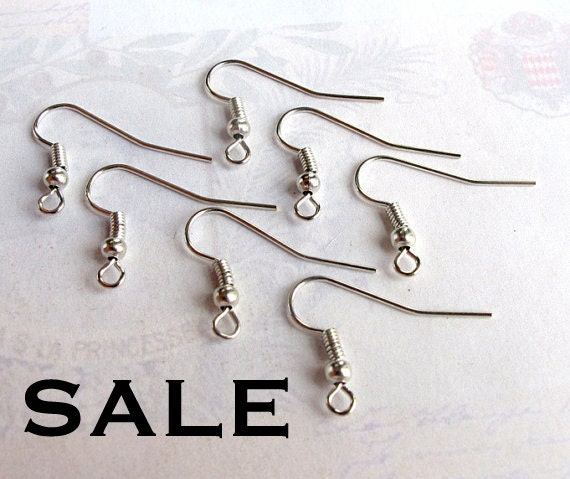 Rhodium Plated Fish Hook Earring Findings (24 Pairs) (F557) SALE - 50% off