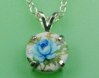 Vintage Blue Rose 1940's Japanese Button Necklace