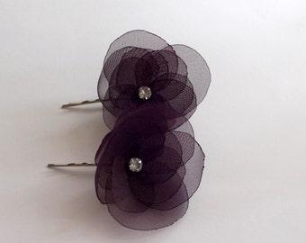 Egplant Purple Organza Flowers Hair Pins  or Shoe Clips