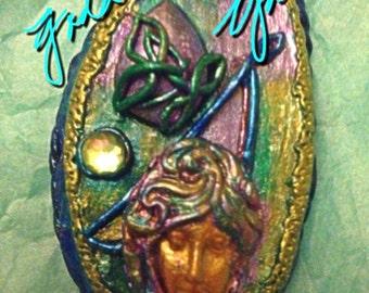 Gaia/Earth Goddess/Rosary/ Necklace/ Enhanced Verdigris Copper/Agate Druzy/ Filigree/ Energywork/Crescent Moon/Collectible Art/Vintage