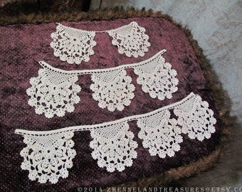 Set of 9 Fine Crochet Joined Pieces to Use as Collars, Decorative Pockets, Appliques / Costume & Couture / Pillows, Fabric Arts, Dollmaking