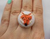 SALE Cross stitch woodland fox adjustable silver tone ring