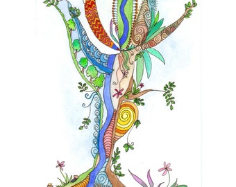 Original watercolour painting, Tree of Life 18, by melanie j cook