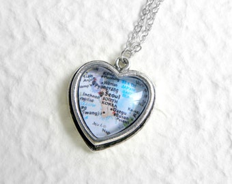 South Korea Map Necklace - Petite Heart Shaped Also featuring Seoul, Busan, Daegu, Incheon, and more Great adoption gift