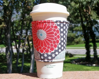 FREE SHIPPING UPGRADE with minimum -  Fabric coffee cozy / cup holder / coffee sleeve - Giant Blooms of red, gray and aqua