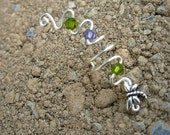 Hand Wrapped Silver Ear Cuff with Dragonfly with Purple and Olive Green Crystals