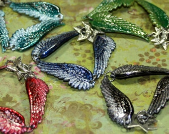 On Colored Wings OOAK Angel/Fairy Bracelet Hand Painted