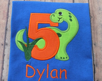 Custom Personalized Dino Dinosaur Age 1-6 Long or Short Sleeve T shirt Photo Prop Birthday Photo's