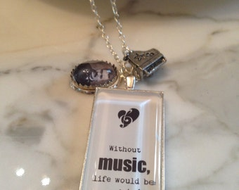 Friedrich Nietzsche Quote Necklace. WIthout Music Life Would be a Mistake