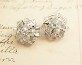 Vintage Crystals Cluster Flower Clip On Earrings - To Benefit Heart Strings