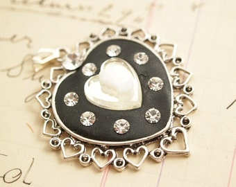 Black Silver Cameo Heart Necklace Pendant One of a Kind Handmade