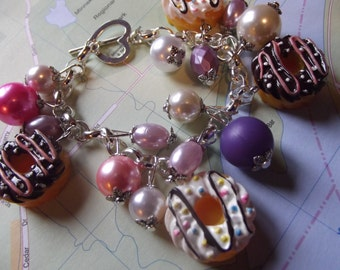 Yummy Donuts Sweets Doughnut Beaded Charm Bracelet Pink and Purple