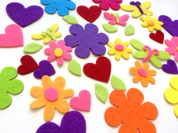 Felt flowers, hearts, butterflies with adhesive backs