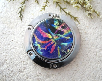Black Cobalt  Rainbow -  Dichroic Purse Hook - Dichroic Fused Glass -  Contemporary - Glass Purse Hanger - Fused Glass Jewelry- 070714ph1010