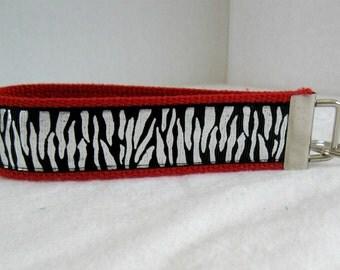 Silver Zebra Key Fob RED Shiny Animal Print Key Chain Wristlet Keychain
