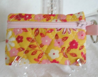 Yellow Quilted Coin Purse - Flowers Yellow Pink - Change Purse - Small Zipper Pouch - Floral Earbud Case