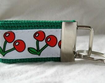 Cherries Mini Key Fob Small Key Chain  Green Small Fruit Keychain Cherry Zipper Pull