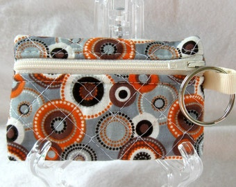 Quilted Coin Purse - Grey Brown Orange - Circles Change Purse with Keychain - Modern Ear Bud Case