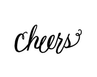 Cheers calligraphy rubber stamp