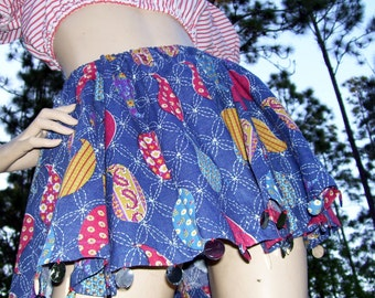Paisley Mini Skirt Blue or Red with Large Sequins Festival Spin Circle Skirt Hippie Gypsy Teen Adult S M with Bandana Head Scarf