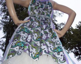 Elephant Geek Sundress Hippie Retro Paisley Dot Stripe Gray Lime Purple Dumbo Lucky Elephant Dress M L XL Plus Adult Sundress