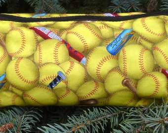 Softball flat bottom bag, flat bottom pouch, makeup bag, The Zini