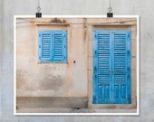 Door and Window Photograph Sicily Italy - pink wall, blue door and shutters, shabby chic grunge abstract rough textured  10x8 11x14 20x16