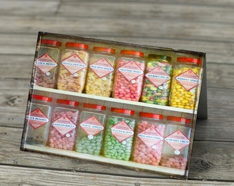 Note card - Pick and Mix Sweets Candy in old fashioned jars on shelf in shop photograph greetings card stationery note