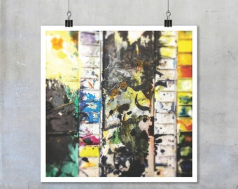 Abstract photography: artists studio still life paint watercolour paint palette black yellow wall art home decor 7x7 12x12 15x15 18x18