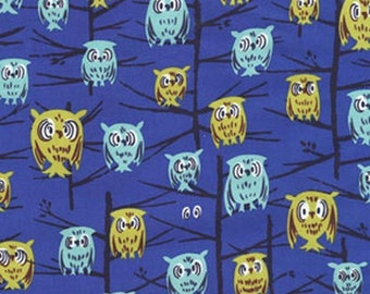 Michael Miller, Tammis Keefe, Hoot Blue Fabric - REMNANT Size 13 Inches by 44 Inches