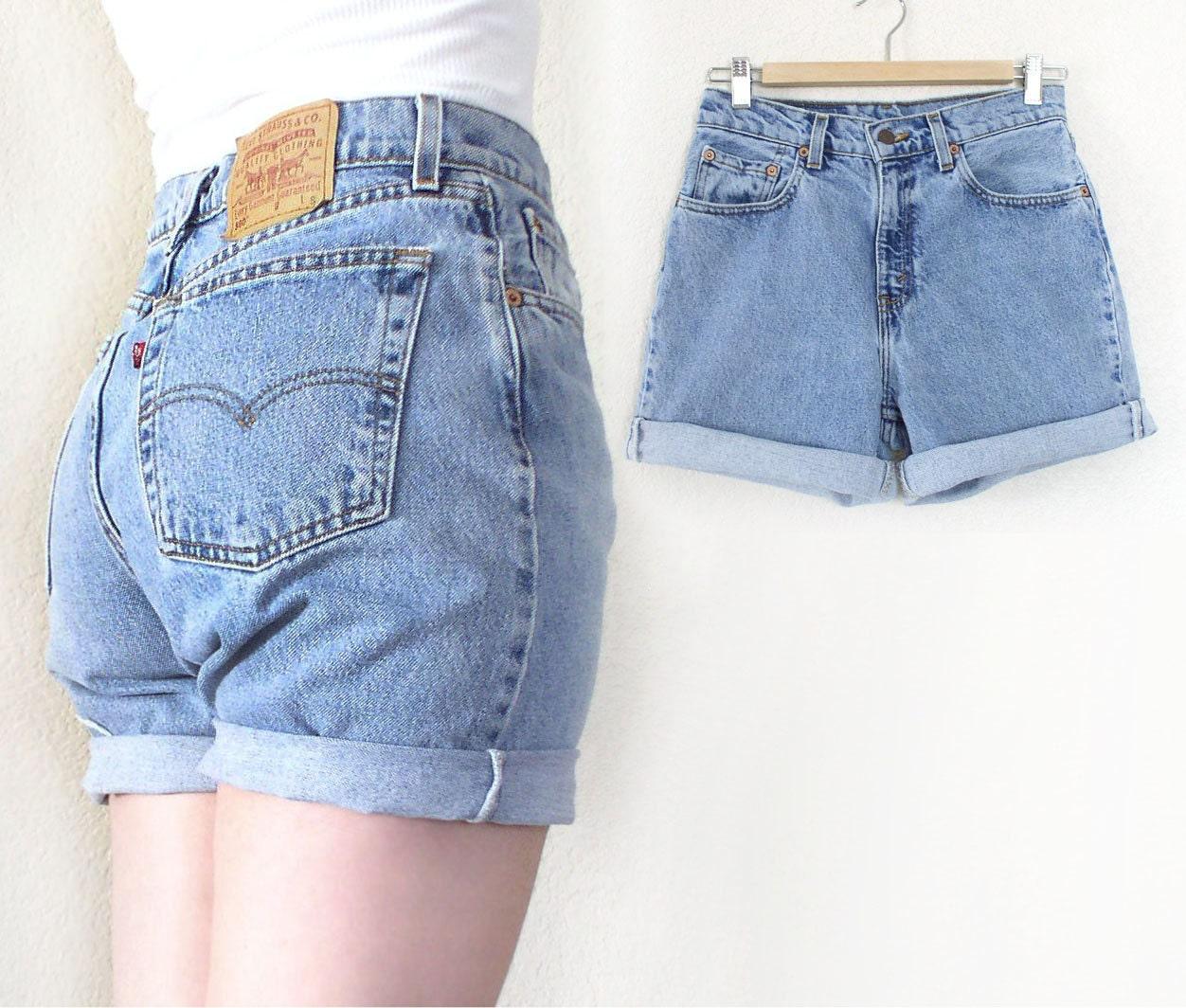 vintage levis 560 high waisted denim cutoff jean shorts 80s. Black Bedroom Furniture Sets. Home Design Ideas